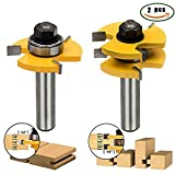 2PCS Tongue and Groove Router Set, Router Bit Set,3 Teeth Adjustable Tenon Cutter with 1/2 Shank Wood Milling Saw Cutter Woodworking Tools