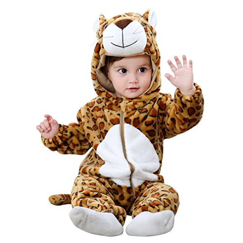 IDGIRLS Unisex Baby Hooded Romper Flannel Animal Jumpsuit Cosplay Outfits(Leopard 80)