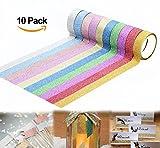 ilauke Glitter Sparkle Washi Tape for Christmas Gift Wrapping Adhesive Masking Decorative DIY Tape 10xRolls(1.5CMx5M)