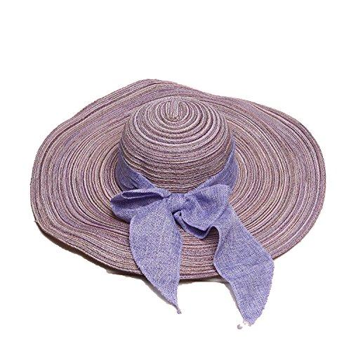 (Hat Ladies Visor Cotton and Linen Bow Big Straw Hat Beach Hat Folding Parent-chi)