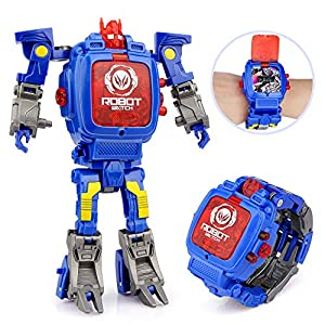 Baztoy Transformers Toys Watches for Kids 2 in 1 Deformation Robot Toys Kids Digital Watch for 3,4,5-10 Years Old Boys Girls Electronic Wristwatch Learning Gifts