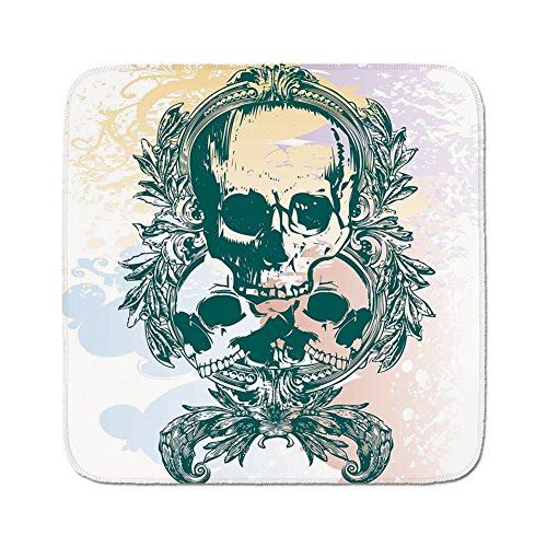 (Cozy Seat Protector Pads Cushion Area Rug,Country,Scary Deadly Rocker Skeleton Head Trio with Frames from Leaves Image,Emerald Lilac Light Yellow,Easy to Use on Any Surface)
