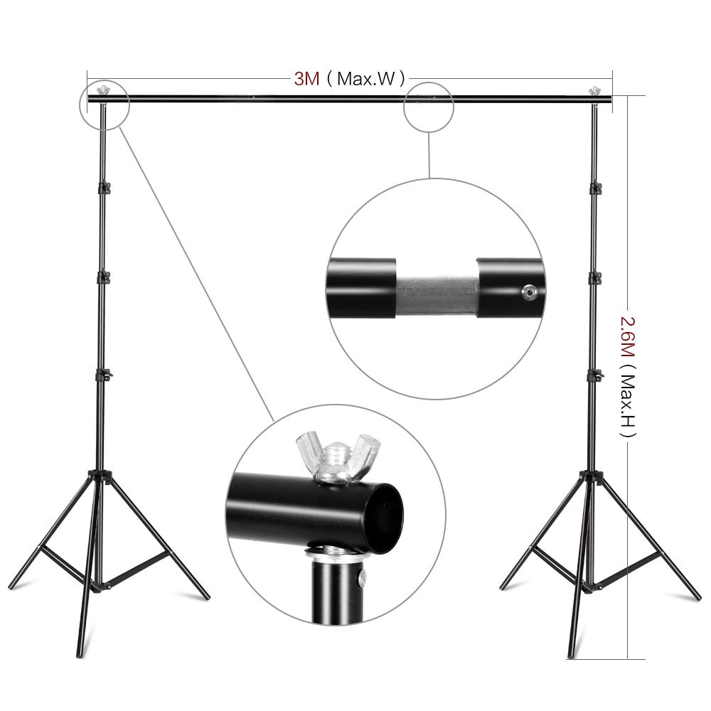 SH 2.6 X 3M Adjustable Background Stand Background Support Kit Removable with Carry Bag for Hanging Background Cloth by SH (Image #3)