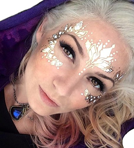 Gold Temporary Tattoos by Golden Ratio Tats, metallic festival face paint, Gold and white flash tattoos (Wifey Face Mask)