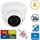 Evertech 4-in-1 (TVI/AHD/CVI/960H) 1080P Outdoor Night Vision Manual Zoom SONY Sensor 2.8-12mm Vari-Focal Lens Dome Security Surveillance Camera with With Free Warning CCTV Sign