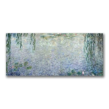 Trademark Fine Art Waterlillies, Morning II by Claude Monet Canvas Wall Art, 10x24-Inch