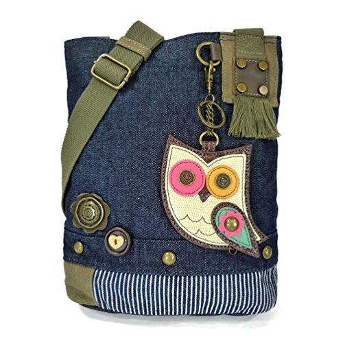 Chala Patch Bag Cross Handbag Canvas Women Denim Blue Denim Body Owl Messenger HddUZr4xqn