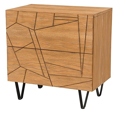 Nightstand in Cerused Wheat Finish by Alpine Furniture