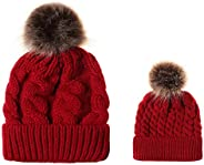PIGBENGO Warm Parent-Child Hats for Mother Baby Winter Knitted Hat Set Family Beanie Caps Skating Skiing Outdo