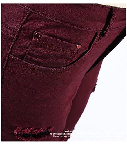 per Skinny Donne Jeans Rosso Ripped Borgogna media donna tratto alta sciancrato Pantaloni rFxw7TzFq