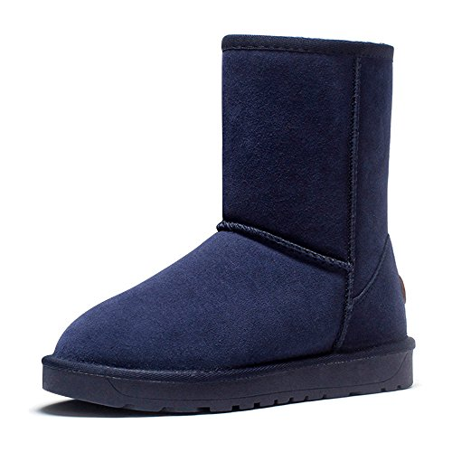Shoes 44 Warm Calf Eastlion Size Blue Unisex Outdoor Boots Boots Wearable Sequins 35 Lined Snow Mid Winter Fleece Keep qII6Twg