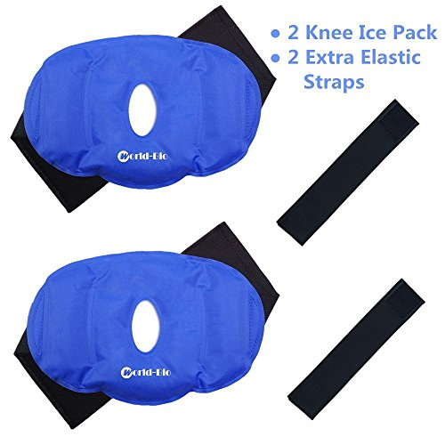 Knee Ice Pack Gel Reusable for Hot and Cold Therapy, Knee & Elbow Ice Compression Wrap for Pain Relief Swelling Sports Injuries,Bruises Compress, 9.8