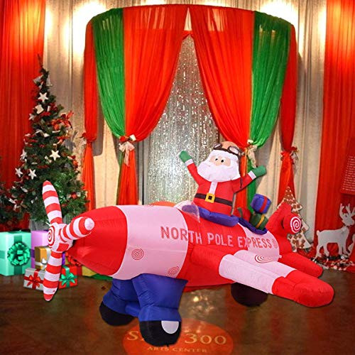 Tangkula 8 FT Inflatable Christmas Santa Claus Airplane, Airblown Xmas Santa Claus Airplane, Indoor Outdoor Airblown Yard Holiday Decorations