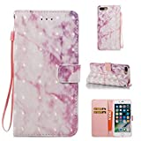 iPhone 7 Plus Case, Firefish Marble [Card Slots] Slim-fit Premium PU Leather With Back Panel Cover Scratch Protective Flip Folio Shell for Apple iPhone 7 Plus-Pink
