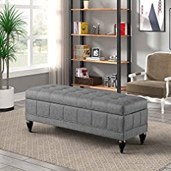 Entryway YUIOP 42 Inch Storage Ottoman Bench, Flip Top Upholstered Tufted Long Bench Rectangular Foot Stool Bench with Storage…