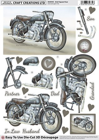 Craft Creations Die-Cut 3D Decoupage - DCD593 Classic British Motorbikes - Ariel Square Four - A4 210x297mm - Step-By-Step Layout by Craft Creations -