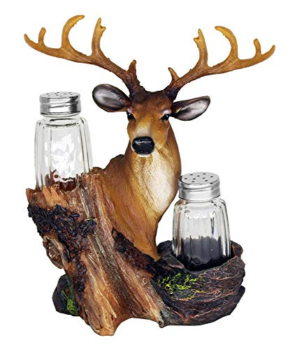 Farmhouse Hand Painted Statue Shaker Holder - Deer Head Salt And Pepper Shakers Set For Home, Kitchen, Bar, Cabin and Hunting Lodge Decor and Good Gifts for Hunters (Shakers Included)