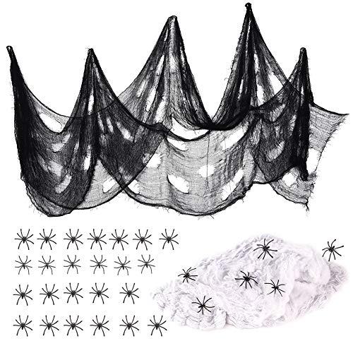 VGOODALL Halloween Spinnennetz Deko Set, Schwarz Spitze Spinnweben Dekoration mit 30 Spinnen für Karneval Halloween Kamin Fenster Tisch Tür Dekostoff