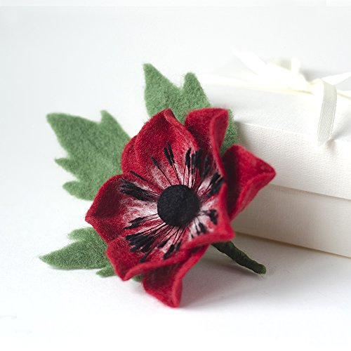 Red Flower Brooch Anemone brooch Handcrafted Wool brooch Handmade Felted jewelry Red brooches Original gift for girlfriend Christmas gift for (Classic Handcrafted Wool)