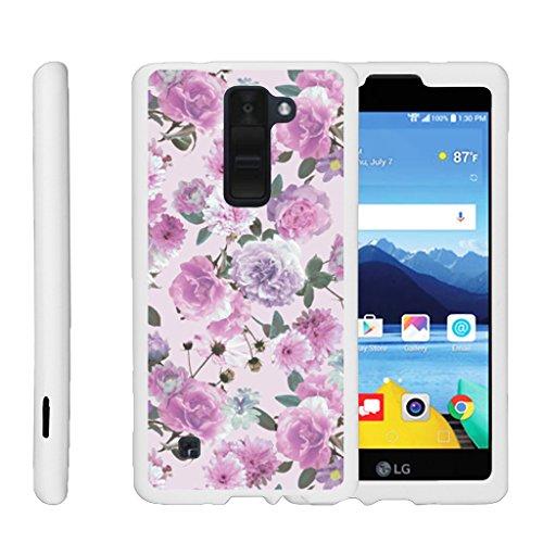 - MINITURTLE Case Compatible w/ [LG K8 V from Verizon Case, K8V VS500 Shell Case][Snap Shell] Hard White Plastic Case w/Non Slip Coating Pink Purple Flower