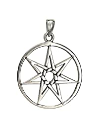 Large Sterling Silver Septagram Heptagram Fairy Star Pendant Jewelry