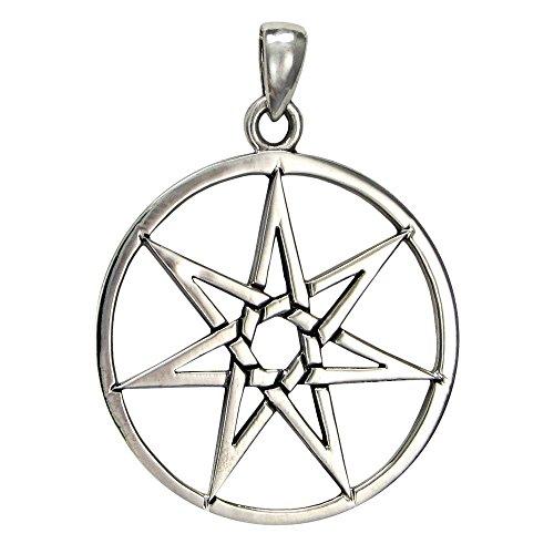 (Large Sterling Silver Septagram Heptagram Fairy Star Pendant)