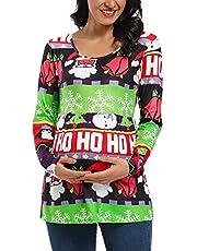 Jezero Women's Maternity Top Short & Long Sleeve Side Ruching Round Neck Shirt
