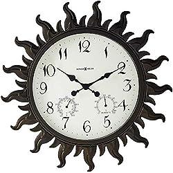 Howard Miller Sunburst II Wall Clock 625-543 - Indoor/Outdoor Metal Frame with Quartz Movement