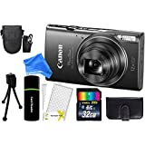 Canon PowerShot ELPH 360 HS 20.2MP 12x Zoom Full-HD 1080p Wi-Fi Digital Camera (Black) + 32GB Card + Reader + Case + DigitalAndMore Accessory Bundle