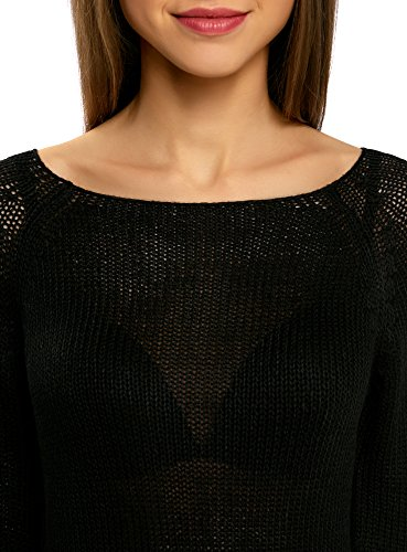 oodji Ultra Mujer Jersey Básico con Cuello Redondo Negro (2900N)