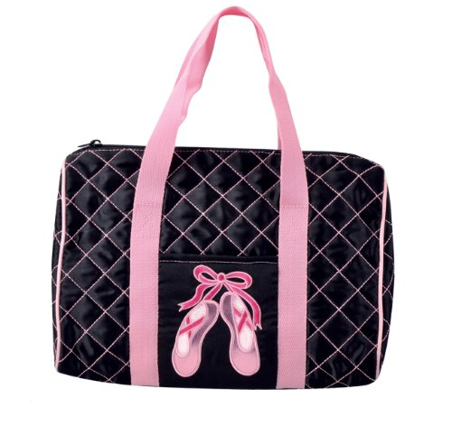 [DansBagz by Danshuz Quilted on Pointe Satin Duffel Bag, Black, OS] (Miss Usa Costume)