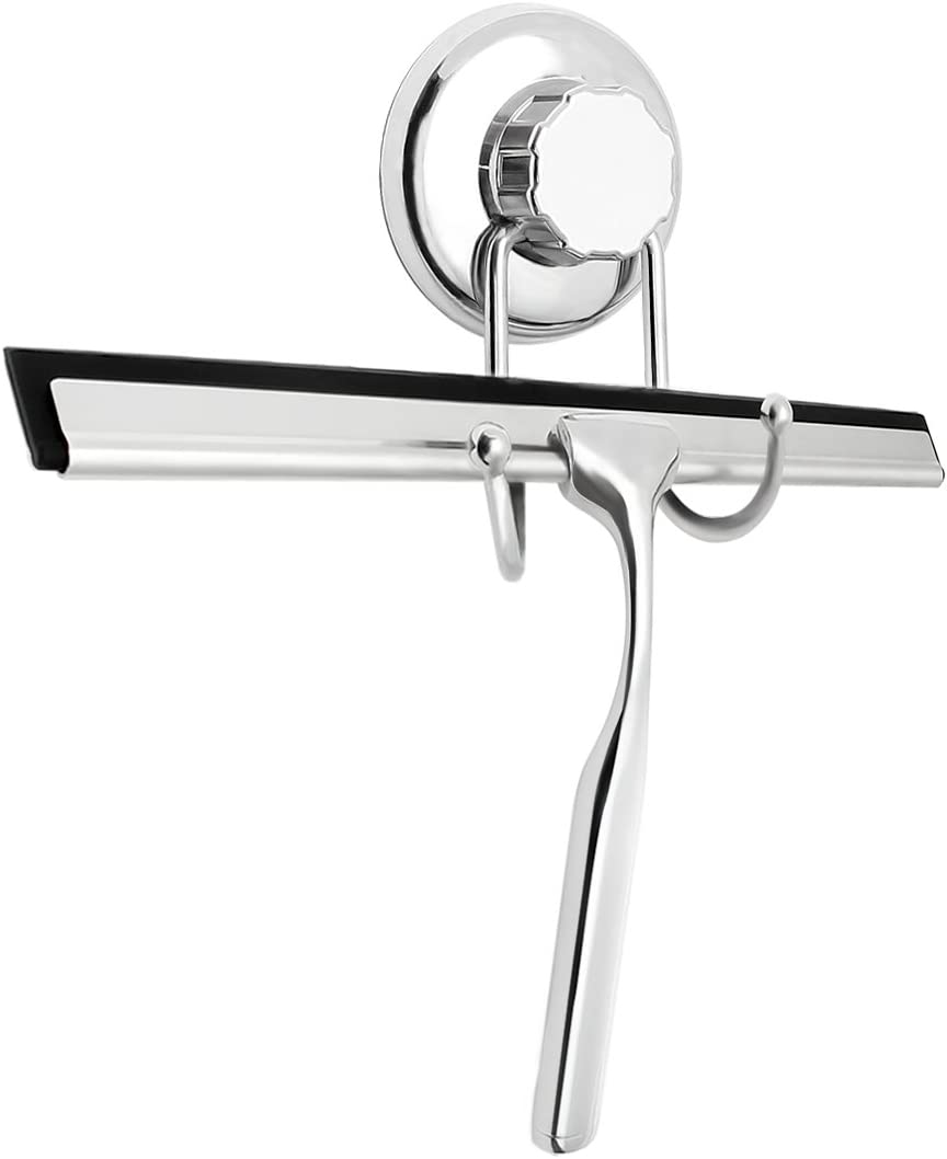 TAPCET Shower Squeegees Wall Mount Stainless Steel Glass Window Wiper Suction Cup Hook