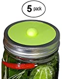 Maintenance free silicone airlock waterless fermentation lids for wide mouth mason jars. BPA free, mold free, dishwasher safe. 5 pack. Premium Presents brand.