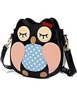 Owl Satchel Messenger Women Shoulder Bag Cute Girls Handbag Cross Body Purse Bag Cute Black Brown Owl Bag / Coin Purse
