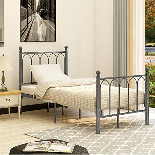 (AUFANK Twin Size Metal Bed Frame No Box Spring Needed Mattress Foundation with Headboard and Footboard Premium Steel Slat Support Black/Silver)