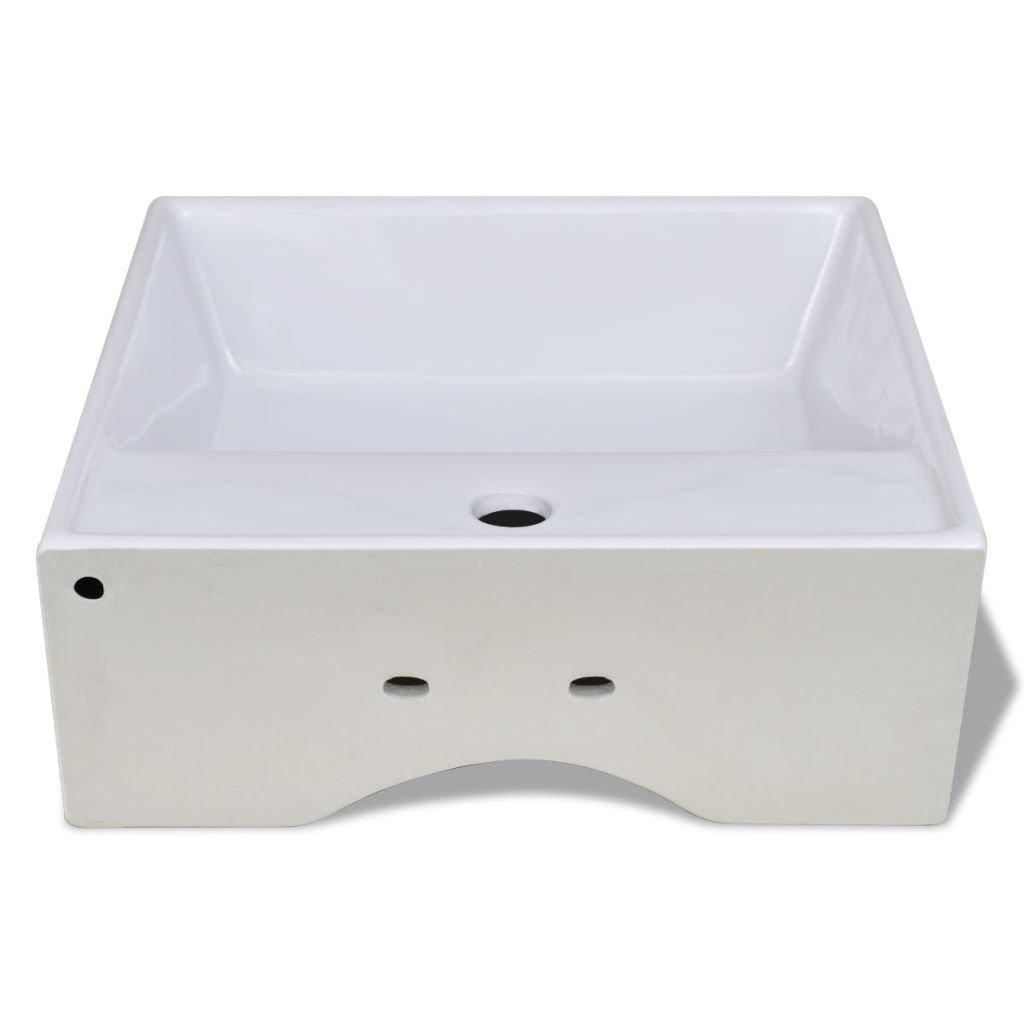 41 x 41 cm Galapara Luxueuse Vasque /à Poser Salle de Bain C/éramique Carr/ée Trop Plein Toilette Lave-Mains Lavabo pour Salle de Bain Lavabo
