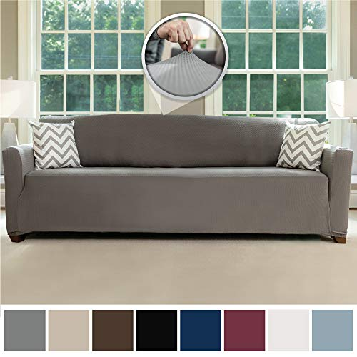 Sofa Shield Original Fitted 1 Piece Oversize Sofa Slipcover, Soft Stretch Material, Seat Width Up to 78 Inch Furniture Protector, Washable Couch Covers, Spandex Fit Slip Cover, Oversize Sofa, Gray (Seat Long With Couch)