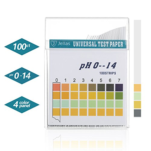 Jellas Universal pH Test Strips, Test Body Acid Alkaline pH Level or Water Quality, High Accuracy and Quick Readout, Full pH Range of 0-14 (1 Pack - pH Test Strips)