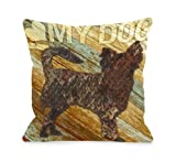 One Bella Casa I Love My Dog Wood Throw Pillow, 16 by 16-Inch