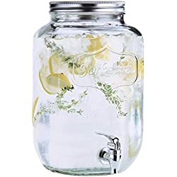 Estilo 2 gallon Glass Single Mason Jar Beverage Drink Dispenser With Leak Free Spigot, Clear