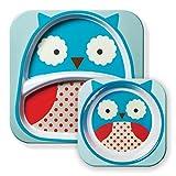 Skip Hop Zoo Tableware, Melamine Plate and Bowl Set, Otis Owl