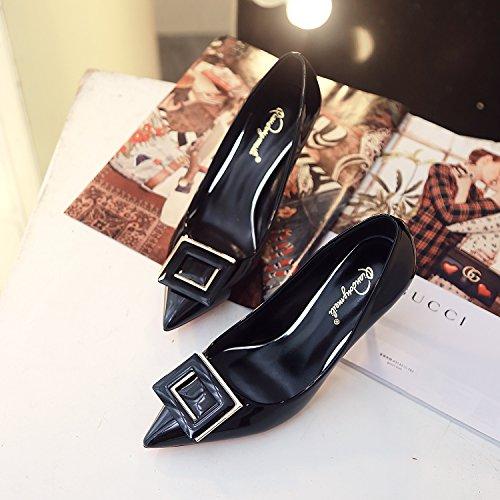 scarpe della parte fine scarpe di Black tacco di calzature punta versione punta coreana matrimonio high La alta end con donna CYpwq5