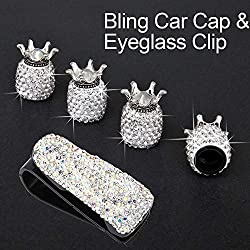 Crystal Rhinestone Dust Caps with Sunglasses Mount Clip
