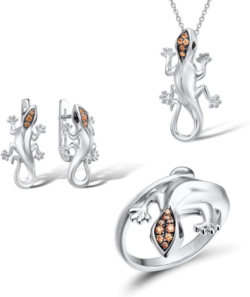 AdronQ® - Juego de joyas de plata para mujer, pendientes de plata de ley 925 con colgante con pendientes en forma de colgante de plata