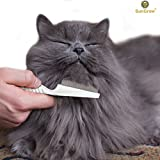 SunGrow Flea Comb for Cats & Small Dogs - Easy To Use Flea Remover & Professional Grooming Tool for Small Pets- Durable, Lightweight, Comfortable Grip & Reduces Hair Fall & Promotes Hair Growth
