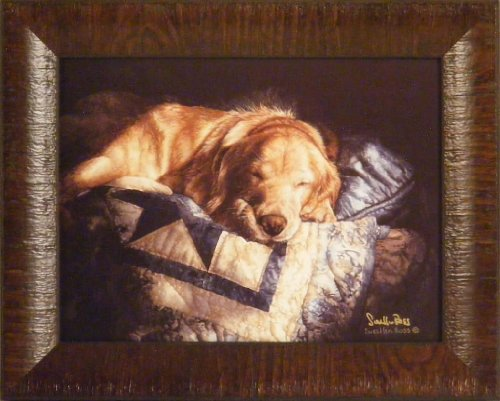 Golden Retriever Puppy Framed - Snooze by Sueellen Ross 12x15 Signed Golden Retriever Dog Puppy Framed Art Print Wall Décor Picture