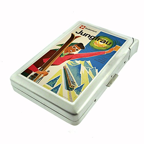 Perfection In Style Metal Cigarette Case with Built In Lighter Vintage Travel Posters Design 020