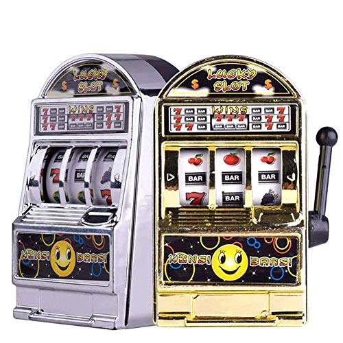 Slot Machine Toy, 2PCS Mini Casino Lucky Lottery Game Machine Bars and Sevens Slot Machine Bank with Spinning Reels Creative Gift ()