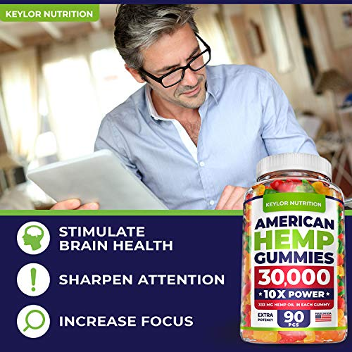 KEYLOR NUTRITION Premium Hemp Gummies - 30000 MG - All Natural Ingredients - Relief for Stress, Inflammation, Sleep, Anxiety, Depression - Vitamins & Omega 3,6,9 - Made in The USA - 90 pcs