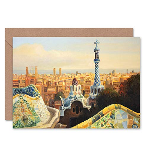 (Fine Art Prints Park Guell Painting Barcelona Greeting Card with Envelope Inside Premium Quality)